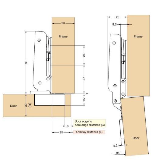 Concealed Heavy Duty Wooden Cabinet Door Hinge